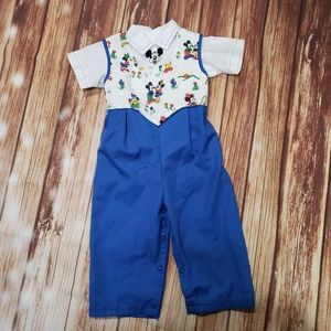 Vintage Disney Mickey Mouse Overalls Dressy Suit
